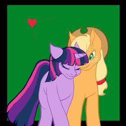Size: 1341x1341 | Tagged: safe, artist:katsaka, applejack, twilight sparkle, alicorn, earth pony, pony, female, heart, lesbian, mare, nuzzling, shipping, twijack, twilight sparkle (alicorn)