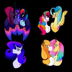 Size: 4000x4000 | Tagged: safe, artist:debria, applejack, fizzlepop berrytwist, fluttershy, pinkie pie, princess skystar, rainbow dash, rarity, tempest shadow, twilight sparkle, alicorn, earth pony, pegasus, pony, unicorn, alternate design, appleshy, bust, chest fluff, colored wings, female, lesbian, mane six, mare, multicolored wings, polyamory, shipping, simple background, skypie, transparent background, twilight sparkle (alicorn), twitempestdash, wings