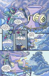 Size: 1280x1979 | Tagged: safe, artist:lytlethelemur, oc, oc only, oc:gimbal lock, pegasus, pony, comic:rally point returns, cloud, cloudsdale, comic, dialogue, exhausted, female, hail, hoof hold, mare, sky, smiling, spread wings, tongue out, weather factory, weather factory uniform, wings