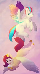Size: 1118x2048 | Tagged: safe, artist:cowardlycatt, pipp petals, zipp storm, pegasus, pony, g5, chest fluff, colored wings, duo, ear fluff, female, flying, mare, multicolored wings, neck fluff, open mouth, raised hoof, siblings, sisters, spread wings, unshorn fetlocks, wings