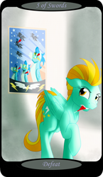 Size: 1500x2591 | Tagged: safe, artist:sixes&sevens, lightning dust, pegasus, cloud house, dartboard of hate, darts, female, five of swords, looking back, mare, minor arcana, mouth hold, solo, tarot card, wonderbolts poster