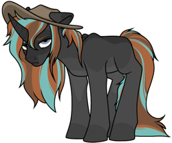 Size: 926x766 | Tagged: safe, artist:catdork, oc, pony, unicorn, angry, cowboy hat, hat, long hair, simple background, standing, unamused, white background