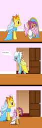 Size: 800x2400 | Tagged: safe, artist:platinumdrop, fleetfoot, scootaloo, spitfire, fairy, alternate hairstyle, clothes, comic, dress, fairy wings, request, speech bubble, wings