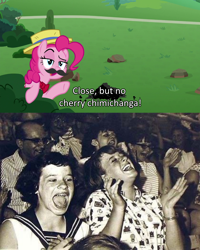 Size: 1920x2395   Tagged: safe, edit, edited screencap, screencap, pinkie pie, human, pony, the ending of the end, caption, irl, irl human, photo, text