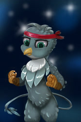Size: 900x1351 | Tagged: safe, artist:meodaiduoi, gabby, griffon, anthro, fighting stance, looking at you, simple background