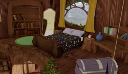 Size: 1174x679 | Tagged: safe, artist:more-useless-source, 3d, bed, golden oaks library, no pony