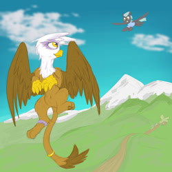 Size: 1280x1280 | Tagged: safe, artist:pzkratzer, gilda, thunderlane, griffon, pegasus, belly button, clothes, female, flying, gildalane, jewelry, male, mountain, ring, shipping, sketch, stallion, straight