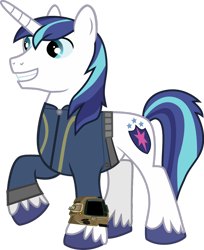 Size: 1024x1254 | Tagged: safe, artist:ponygamer2020, artist:sakatagintoki117, shining armor, pony, unicorn, fallout equestria, clothes, fallout, jumpsuit, male, pipboy, simple background, smiling, solo, stallion, transparent background, vault suit, vector