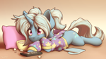 Size: 2880x1620 | Tagged: safe, artist:ohemo, trixie, pony, unicorn, alternate hairstyle, babysitter trixie, chill, clothes, cute, diatrixes, food, hoodie, lying down, pillow, popcorn, prone, remote