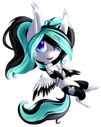 Size: 2188x2742 | Tagged: safe, artist:mediasmile666, oc, oc only, pegasus, pony, chibi, commission, female, jewelry, looking at you, mare, pendant, simple background, solo, spread wings, transparent background, two toned wings, wings