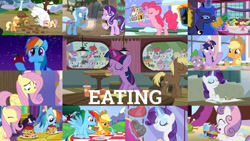 Size: 1280x721 | Tagged: safe, edit, edited screencap, editor:quoterific, screencap, alula, applejack, aquamarine, aura (character), boysenberry, bulk biceps, coco crusoe, cotton cloudy, dinky hooves, featherweight, fluttershy, gallop j. fry, lemon daze, little red, liza doolots, noi, orange tangerine, peach fuzz, petunia, pinkie pie, pluto, princess luna, rainbow dash, rainy feather, rarity, ruby pinch, shady daze, spike, starlight glimmer, strike, super funk, sweet pop, sweetie belle, tangerine twist, tootsie flute, tornado bolt, train tracks (character), trixie, truffle shuffle, twilight sparkle, twist, alicorn, dragon, earth pony, pegasus, pony, unicorn, 28 pranks later, a canterlot wedding, a health of information, a royal problem, castle sweet castle, hearth's warming eve (episode), inspiration manifestation, owl's well that ends well, road to friendship, spice up your life, the ending of the end, twilight time, :o, ^^, apple, applejack's hat, aweeg*, blueberry, burger, cake, camera, chocolate, cowboy hat, cupcake, cute, dashabetes, diapinkes, diasweetes, donut, eating, eyes closed, female, filly, food, grin, hat, hay burger, herbivore, jackabetes, looking at you, magic, male, mane six, mare, night, open mouth, pancakes, pineapple, puffy cheeks, raribetes, sandwich, shyabetes, smiling, snow, stallion, strawberry, telekinesis, twiabetes, twilight sparkle (alicorn)