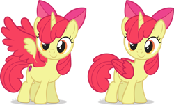Size: 1151x694 | Tagged: safe, artist:le-23, edit, apple bloom, alicorn, adorabloom, alicornified, apple bloom's bow, bloomicorn, bow, colored wings, cute, cutie mark, hair bow, princess apple bloom, race swap, simple background, solo, spread wings, transparent background, updated, wings