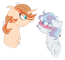Size: 1354x1247 | Tagged: safe, artist:gallantserver, oc, oc only, oc:autumn spice, oc:winter solstice, pegasus, pony, unicorn, blushing, bust, female, heart eyes, mare, oc x oc, offspring, parent:princess cadance, parent:princess celestia, parent:shining armor, parent:sunburst, parents:celestiburst, parents:shiningcadance, shipping, simple background, transparent background, wingding eyes