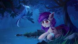 Size: 1920x1080 | Tagged: safe, artist:emeraldgalaxy, oc, oc:sunset cloudy, bat pony, ice phoenix, phoenix, pony, lying down, prone, rain, solo, tree, water