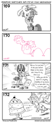Size: 1320x3035 | Tagged: safe, artist:pony-berserker, maud pie, pinkie pie, princess celestia, scootaloo, alicorn, earth pony, pegasus, pony, balancing, ball, bouncing, cake, cake monster, cakelestia, chase, clothes, cute, dave rogers, deja vu, dress, drift, drifting, female, food, helmet, hungry, looking at each other, lyrics, mare, monochrome, music notes, pie sisters, pinkie being pinkie, ponies balancing stuff on their nose, pony-berserker's twitter sketches, running, running away, salivating, scooter, siblings, silly face, sisters, smiling, song, song reference, stippling, text, tongue out, when she smiles