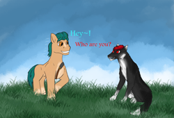 Size: 2323x1582 | Tagged: safe, hitch trailblazer, oc, pony, wolf, g5, furry, furry oc
