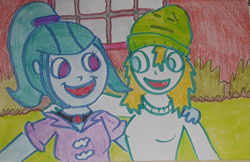Size: 1280x827 | Tagged: safe, artist:dex stewart, sonata dusk, oc, oc:fargate, earth pony, human, pony, siren, equestria girls, rainbow rocks, aqua teen hunger force, beanie, duo, hat, humanized, ignignokt, traditional art