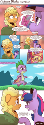 Size: 1300x3674 | Tagged: safe, artist:saturdaymorningproj, applejack, spike, twilight sparkle, comic:indecent blushes