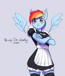 Size: 3232x3774 | Tagged: safe, artist:mrscroup, rainbow dash, pegasus, anthro, adorasexy, blush sticker, blushing, boob window, clothes, crossed arms, cute, dashabetes, embarrassed, floating wings, frown, looking at you, maid, rainbow maid, sexy, simple background, skindentation, socks, stupid sexy rainbow dash, text, thigh highs, wings, zettai ryouiki