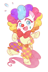 Size: 998x1500   Tagged: artist needed, safe, fluttershy, pegasus, pony, lolly-pop, my little pony: pony life, pony life, spoiler:pony life s02e19, bipedal, clown, clown makeup, clown nose, clown outfit, clown wig, cute, drawthread, female, flutterclown, open mouth, requested art, shyabetes, solo