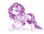 Size: 1280x1006 | Tagged: safe, alternate version, artist:dstears, rarity, pony, unicorn, my little pony: the manga, my little pony: the manga volume 3, spoiler:manga3, alternate hairstyle, clothes, fully clothed, jewelry, monochrome, necklace, raised hoof