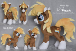 Size: 1307x871 | Tagged: safe, artist:wdeleon, oc, oc:sea spray, earth pony, pony, amputee, commission, custom, female, filly, irl, multiple angles, photo, plushie, smiling, socks (coat markings), solo, standing, toy