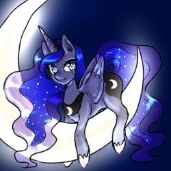 Size: 1653x1653 | Tagged: safe, artist:silkyunii, princess luna, alicorn, pony, crescent moon, ear fluff, female, glow, lying down, mare, moon, night, night sky, prone, sky, solo, tangible heavenly object