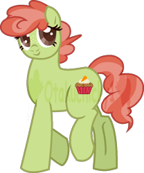 Size: 654x787 | Tagged: safe, artist:otakuchicky1, oc, oc only, oc:carrot muffin, earth pony, pony, base used, female, mare, offspring, parent:carrot cake, parent:cup cake, parents:carrot cup, simple background, solo, transparent background, watermark