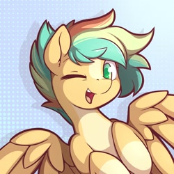 Size: 2000x2000   Tagged: safe, artist:theparagon, pegasus, pony, abstract background, blaze (coat marking), bust, coat markings, colored hooves, facial markings, female, green eyes, looking at you, mare, one eye closed, pale belly, portrait, signature, socks (coat markings), solo, spread wings, wings, wink