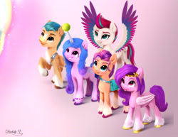Size: 2795x2160 | Tagged: safe, artist:darksly, hitch trailblazer, izzy moonbow, pipp petals, sunny starscout, zipp storm, earth pony, pegasus, pony, unicorn, g5, :p, adorapipp, adorazipp, badge, bag, ball, cloven hooves, cute, ear fluff, female, grin, high res, horn, horn guard, horn impalement, hornball, izzy's tennis ball, izzybetes, looking up, male, mane five (g5), mare, raised hoof, signature, smiling, stallion, sunnybetes, teeth, tennis ball, tongue out, unshorn fetlocks