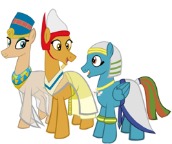Size: 1280x1072 | Tagged: safe, artist:mr100dragon100, oc, oc only, oc:ahmose, oc:amisi, oc:scarab, earth pony, pegasus, earth pony oc, egyptian, egyptian pony, pegasus oc, pharaoh, prince, queen, simple background, transparent background
