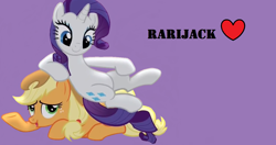 Size: 1284x677 | Tagged: safe, artist:twilyisbestpone, derpibooru exclusive, applejack, rarity, earth pony, pony, unicorn, and then there's rarity, appleseat, duo, female, heart, lesbian, looking down, lying down, mare, prone, purple background, rarijack, shipping, simple background, sitting, sitting on, sitting on pony, unicorn master race