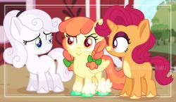 Size: 2568x1492 | Tagged: safe, artist:interstellar-quartz, apple bloom, scootaloo, sweetie belle, pony, alternate universe, cutie mark crusaders, female, filly, race swap, redesign