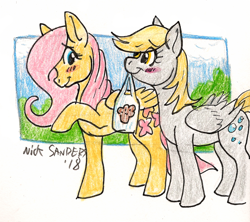 Size: 738x654 | Tagged: safe, artist:wolfy-t, derpy hooves, fluttershy, pegasus, pony, bag, blushing, derpyshy, female, lesbian, mouth hold, shipping, traditional art