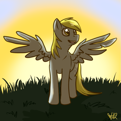 Size: 527x527 | Tagged: safe, artist:wolfy-t, derpy hooves, pegasus, female, mare, solo, spread wings, sun, sunrise, wings