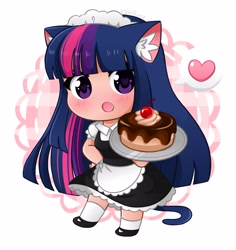 Size: 3871x4096 | Tagged: safe, artist:kittyrosie, twilight sparkle, cat, human, absurd resolution, anime, blushing, cake, catgirl, clothes, cute, ear fluff, fangs, floating heart, food, heart, humanized, maid, open mouth, shoes, simple background, tail, tailed humanization, twiabetes