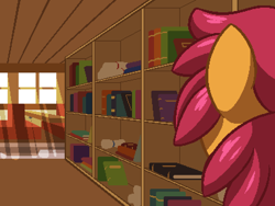 Size: 800x600 | Tagged: safe, artist:rangelost, oc, oc only, oc:trailblazer, earth pony, pony, cyoa:d20 pony, book, bookshelf, crepuscular rays, female, indoors, library, mare, scroll, solo