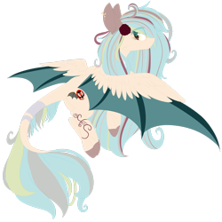 Size: 2449x2449 | Tagged: safe, artist:mediasmile666, oc, oc only, original species, bat wings, coat markings, colored hooves, ear piercing, earring, feathered bat wings, flower, flower in hair, flying, jewelry, looking at you, looking back, looking back at you, piercing, simple background, spread wings, transparent background, wings
