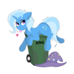 Size: 5000x5000 | Tagged: safe, artist:groomlake, trixie, pony, unicorn, colored, cute, female, hat, heart, looking at you, love, mare, simple, simple background, solo, tongue out, trash can, white background
