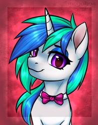 Size: 1534x1952 | Tagged: safe, artist:megabait, oc, oc only, pony, unicorn, bowtie, bust, female, mare, not vinyl scratch, oc name needed, portrait