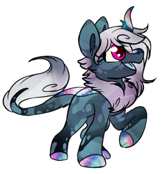 Size: 554x578 | Tagged: safe, artist:oospottedtailoo, oc, oc:cosmic quartz, kirin, female, simple background, solo, white background