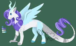 Size: 1066x648 | Tagged: safe, artist:the-dreepy-mom, oc, draconequus, hybrid, green background, interspecies offspring, offspring, parent:discord, parent:rarity, parents:raricord, simple background, solo