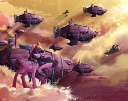 Size: 3300x2596   Tagged: safe, artist:chocori, twilight sparkle, alicorn, pony, airship, cloud, crown, female, folded wings, jewelry, mare, plane, raised hoof, regalia, solo, twilight sparkle (alicorn), wings
