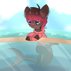 Size: 2000x2000 | Tagged: safe, artist:pasteldraws, oc, original species, pony, shark, shark pony, clothes, cloud, cloudy, collar, ear piercing, earring, freckles, heterochromia, hoodie, horns, jewelry, ocean, piercing, socks, solo