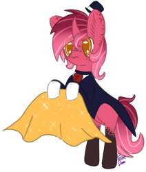 Size: 1679x1977 | Tagged: safe, artist:pasteldraws, pony, unicorn, cape, clothes, fluffy mane, freckles, gloves, hat, magician, redesign, solo, top hat