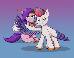 Size: 1400x1100 | Tagged: safe, artist:mew-me, pipp petals, zipp storm, pegasus, pony, g5, adorapipp, cellphone, colored wings, cute, duo, female, floating heart, gradient background, heart, jealous, jpg, looking at you, mare, multicolored wings, phone, protecting, siblings, simple background, sisters, smartphone, smiling, spread wings, unshorn fetlocks, wings