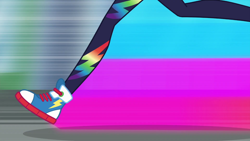 Size: 1280x720   Tagged: safe, screencap, rainbow dash, equestria girls, equestria girls series, run to break free, spoiler:eqg series (season 2), converse, female, legs, pictures of legs, rainbow trail, running, shoes