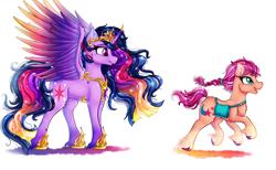 Size: 3900x2400 | Tagged: safe, artist:stainedglasslighthea, sunny starscout, twilight sparkle, alicorn, earth pony, pony, g5, the last problem, badge, bag, crown, duo, female, fluttershy's cutie mark, hoof shoes, jewelry, mare, markings, older, older twilight, open mouth, princess twilight 2.0, rainbow dash's cutie mark, raised hoof, raised leg, regalia, satchel, simple background, sunny and her heroine, twilight sparkle (alicorn), twilight sparkle's cutie mark, white background