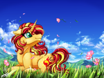 Size: 2400x1800 | Tagged: safe, artist:stainedglasslighthea, sunset shimmer, pony, unicorn, beautiful, cloud, cute, female, flower, grass, lying down, mare, meadow, prone, shimmerbetes, sky, solo