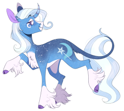 Size: 1585x1424 | Tagged: safe, artist:wanderingpegasus, trixie, classical unicorn, pony, unicorn, alternate hairstyle, blaze (coat marking), chest fluff, cloven hooves, coat markings, curved horn, facial markings, female, freckles, grin, horn, leg fluff, leonine tail, mare, markings, pale belly, profile, raised hoof, raised leg, simple background, smiling, smug, snip (coat marking), socks (coat markings), solo, transparent background, unshorn fetlocks